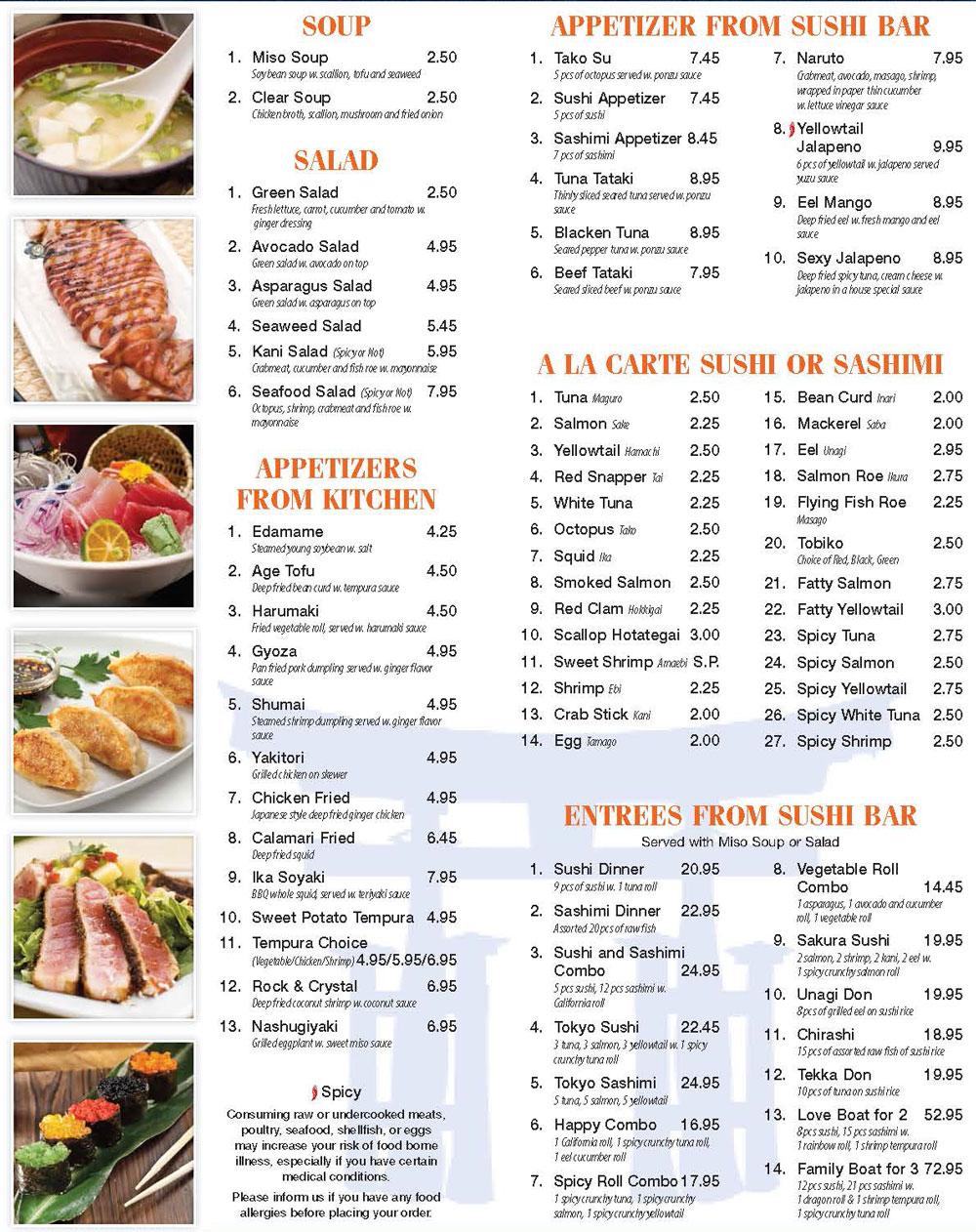 Tokyo hibachi sushi for Akina japanese cuisine menu